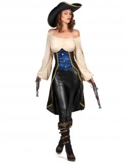 Edles Piratenkostüm für Damen Faschingskostüm blau-beige-braun