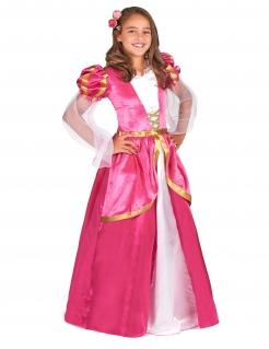 Prinzessinenkostüm für Mädchen Burgfräulein pink-gold-weiss