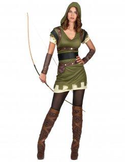 Bogenschützin-Damenkostüm Faschingskostüm grün-braun