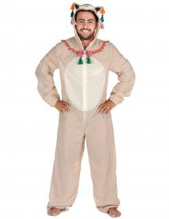 Lama-Kostüm für Herren Faschingskostüm beige-bunt