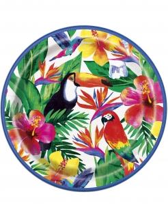 Tropical Pappteller Tischdeko 8 Stück bunt 23cm