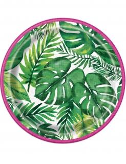Regenwald-Pappteller Tropical Tischdeko klein 8 Stück grün 18cm