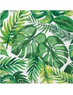 Papierservietten Tropical-Muster 16 Stück grün-weiss 33x33cm