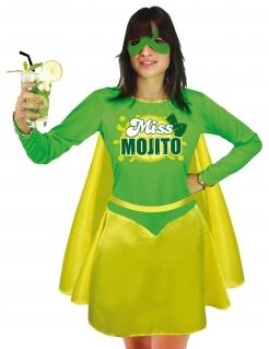 Lustiges Miss Mojito-Damenkostüm JGA-Outfit grün-gelb