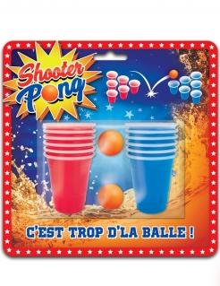 Shooter Pong-Set Partyspiel rot-blau