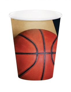 Basketball-Becher Sport-Mottoparty-Deko 8 Stück orange-gold 266ml