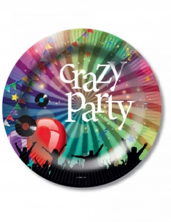 Crazy Party Pappteller 6 Stück bunt 23cm