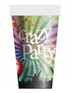 Trinkbecher Crazy Party Tischdeko 6 Stück bunt 250ml