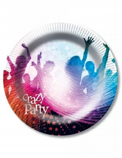 Crazy Party-Pappteller 6 Stück bunt 23cm