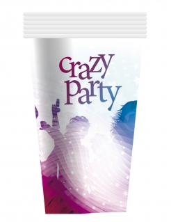 Party-Trinkbecher Crazy Party 6 Stück Tischdeko weiss-bunt 250ml