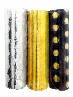 Luftschlangen Dekoration 3 Stück silber-gold-rot