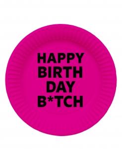 Pappteller Happy Birthday Btch 8 Stück pink-schwarz 23cm