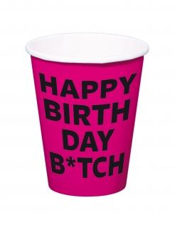 Trinkbecher Happy Birthday Btch 8 Stück pink-schwarz 350ml