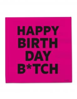 Servietten Happy Birthday Btch 20 Stück pink-schwarz