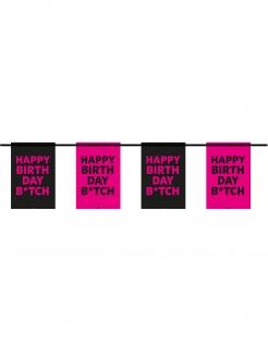 Wimpel-Girlande Happy Birthday Btch pink-schwarz 6m