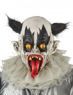 Untoter Horrorclown Halloween-Maske weiss-schwarz