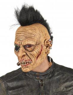 Punker-Maske mit Irokese Horror-Maske für Halloween beige-schwarz