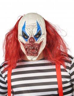 Erschreckende Horrorclown-Maske weiss-rot