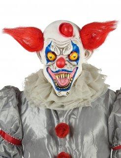Killerclown-Maske mit abstehenden Haaren Halloween-Maske weiss-rot