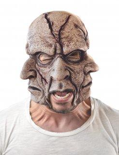 Horror-Maske 3 Gesichter braun