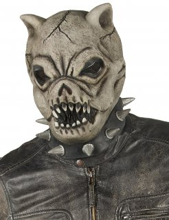 Hunde-Maske für Halloween Pitbull-Maske mit Stachelhalsband grau