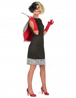Böse Hundefängerin-Kostüm für Damen Faschingskostüm schwarz-weiss-rot