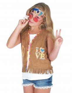 Hippie-Weste für Mädchen Faschingsaccessoire braun-bunt