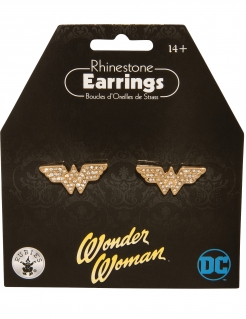 Wonder Woman™-Ohrringe für Damen mit Strass Accessoire gold