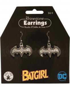 Glitzernde Batgirl™-Ohrringe für Erwachsene silberfarben-grau