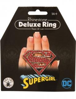 Glitzernder Supergirl™-Ring für Erwachsene rot-silberfarben