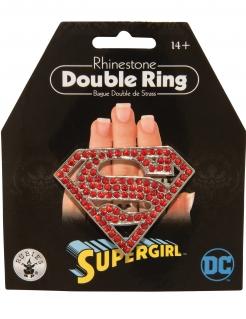 Glitzernder Supergirl™-Doppelring für Erwachsene rot-silberfarben