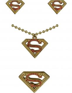 Supergirl™-Schmuckset für Erwachsene rot-goldfarben