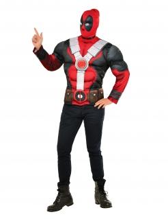 Deapool™-T-Shirt mit Muskeln und Kapuzenmütze Marvel™ rot-schwarz