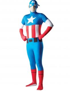 Captain America™-Kostüm Second Skin Faschingskostüm blau-rot-weiss