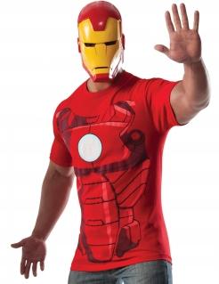 Iron Man™-T-Shirt und Maske für Herren Faschingskostüm rot-gold