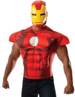 Iron Man™-Kostüm für Herren Shirt und Maske rot-gelb