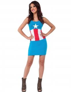 Captain America™-Damenkleid Faschingskostüm blau-weiss-rot