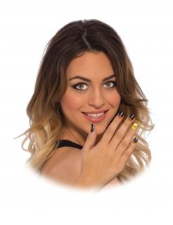 Black Widow™-Nagelsticker für Damen Make-up schwarz-gelb-orange