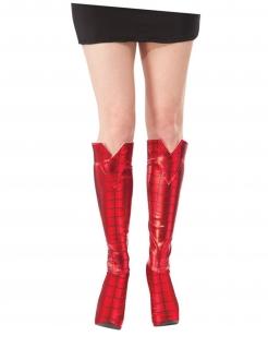 Spidergirl™-Überstiefel Schuhe Accessoire rot-schwarz