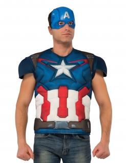 Captain America™-Kostüm mit Muskeln blau-weiss-rot