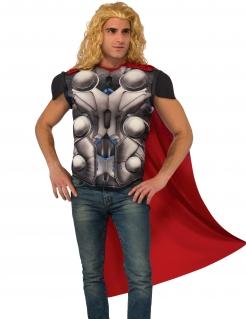 Thor™-T-Shirt mit Umhang Marvel™-Lizenzkostüm grau-rot