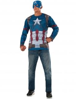 Captain America™-Oberteil und Maske Civil War™ Faschingskostüm blau-rot-weiss