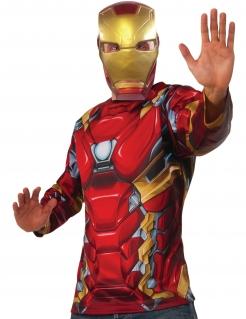 Iron Man™-Kostüm Oberteil und Maske Marvel™ rot-gold