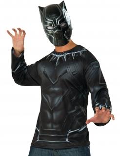 Black Panther™-Oberteil und Maske Marvel™ schwarz-grau