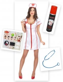 Zombie-Krankenschwester Halloweenkostüm-Set für Damen 13-teilig weiss-rot