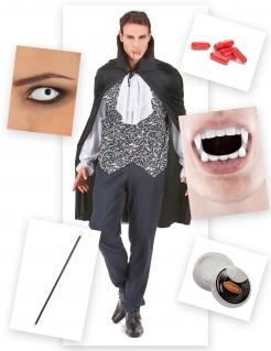 Vampirgraf Halloweenkostüm-Set für Herren 15-teilig schwarz-weiss-rot