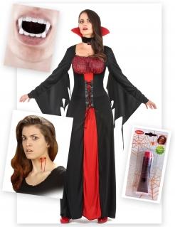 Vampirgräfin Halloweenkostüm-Set für Damen 15-teilig schwarz-weiss-rot
