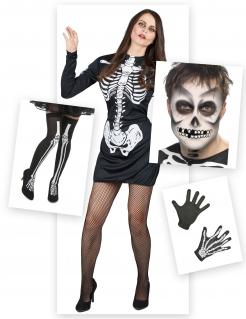 Skelett-Kostümset für Damen Halloween 6-teilig schwarz-weiss