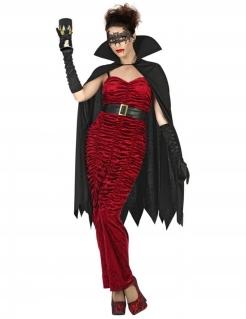 Vampir-Kostüm für Damen Halloween schwarz-rot