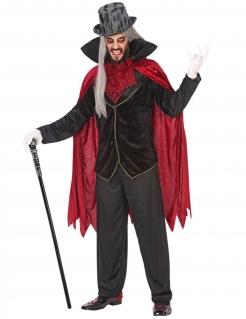 Vampir-Kostüm für Herren Halloween schwarz-rot